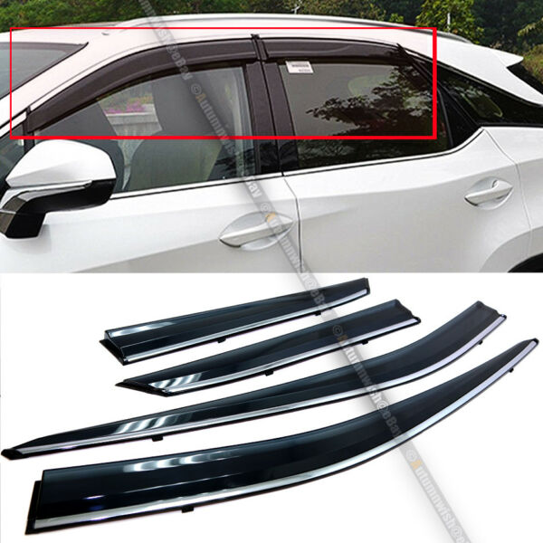 Fit 16-18 Lexus RX350 RX450H JDM Style Black Tinted w Chrome Trim Window Visor