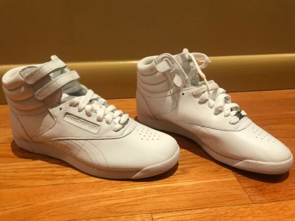 Reebok new Women's Freestyle Hi high top Shoes sneakers white leather US 8