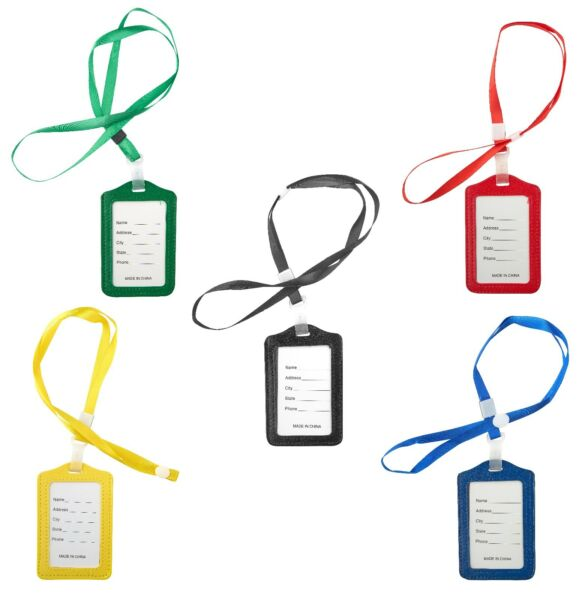 Lanyard ID Holder Badge Neck Strap PU Leather Pass Credit Card Business Strap