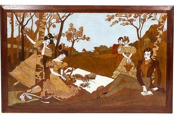 "Large Pyrography Pokerwork Picnic Scene France 43"" x 27"
