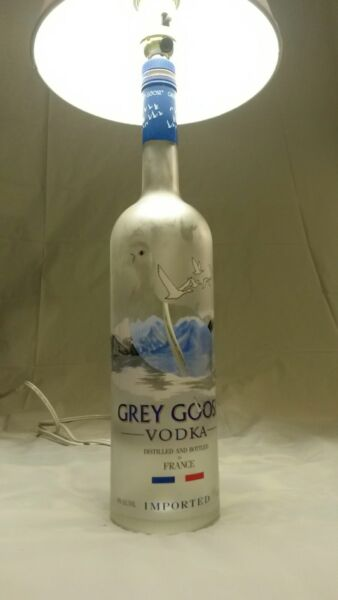 GREY GOOSE french vodka liquor bottle table lamp W shade and led bulb
