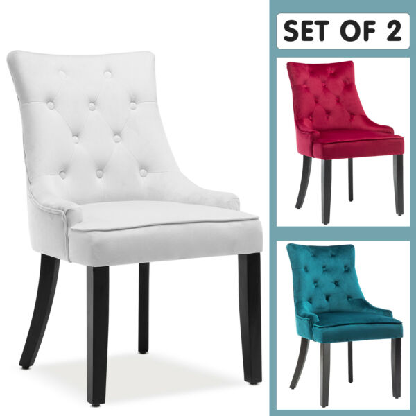 Modern Set of 2 Elegant Tufted Design Fabric Dining Chairs Upholstered Wood Legs