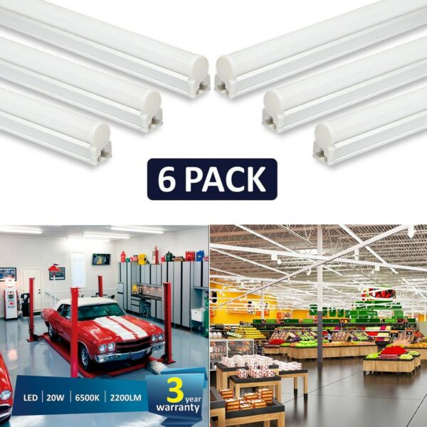LED T5 Lights Shop Lighting Garage 6pcs On/Off 20W 2200lm 6500k 4ft Super Bright