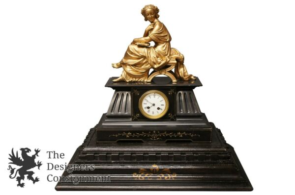 Antique French Marble Mantel Clock H. MCLLE Paris C. 1850s Bronze Mounted Figure