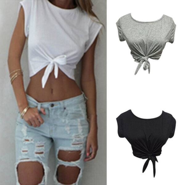 Women Summer Tops Knotted Tie Front Crop Tops Cropped T Shirt Casual Blouse Gx