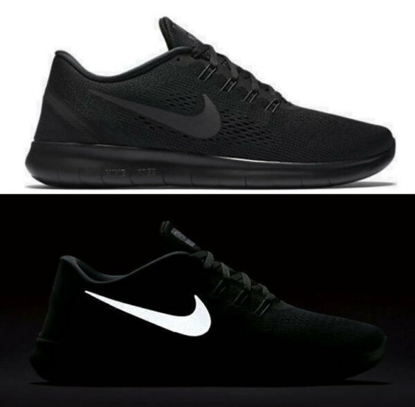 New NIKE Free RN 2016 Reflective 831508-002 Running Shoes triple black size 8.5