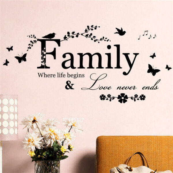 Family Letter Quote Removable Vinyl Decal Art Mural Home Decor Wall Stickers Gx