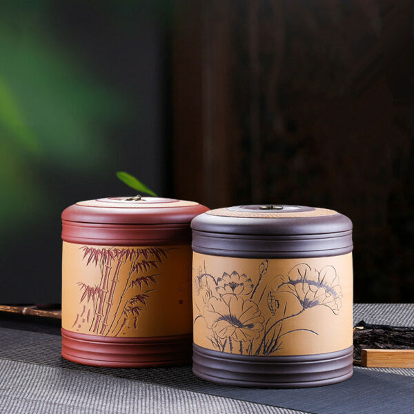 Chinese zisha canister for Pu'er tea yixing zisha tea caddy for loose tea large