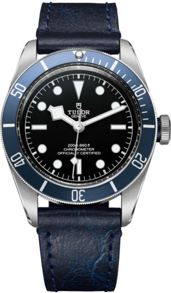 AUTHENTIC NEW TUDOR HERITAGE BLACK BAY WATCH BLUE LEATHER STRAP M79230B-0007