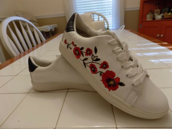 A New Day White Sneakers Casual Shoes with Red Rose Design Women's