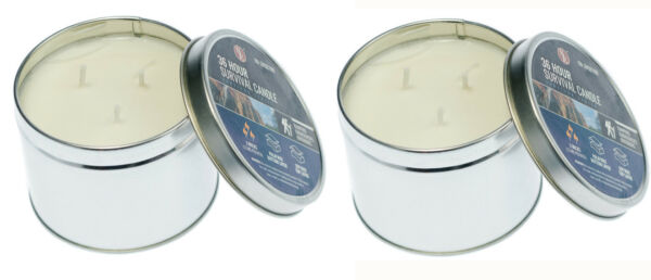 2Pc Emergency Survival Candle 3 Wick 36 Hour Wilderness Outdoor Heat Tin Camping