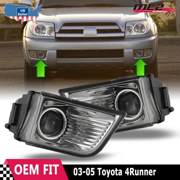 For Toyota 4Runner 03-05 Factory Bumper Replacement Fit Fog Lights Clear Lens