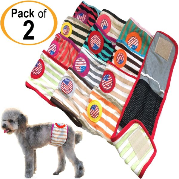 PACK of 2pcs Dog Diapers RANDOM Colors Male BELLY BAND Wrap For Small Pet XXS L $5.99