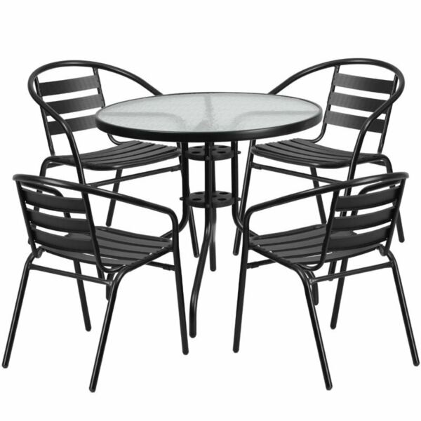 Bowery Hill 5 Piece Round Patio Dining Set in Black $302.77