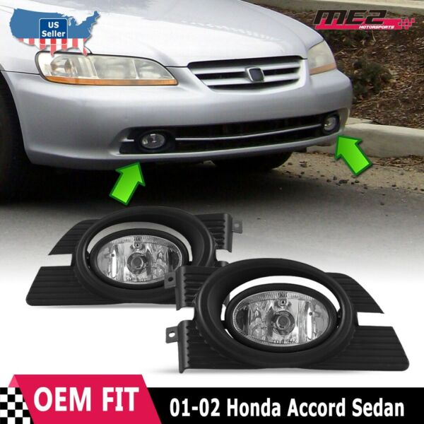 For Honda Accord 98-02 Factory Replacement Fit Fog Lights Wiring Kit Clear Lens