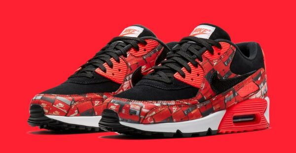 "NIKE AIR MAX 90 PRINT ""WE LOVE NIKE"" AQ0926-001 Men's Sneakers NEW SHIPS NOW"