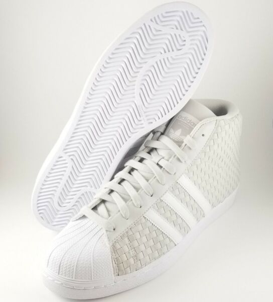Adidas Original Pro Model Leather Weave Men's Size 12 White/Gray Shoes BY4170