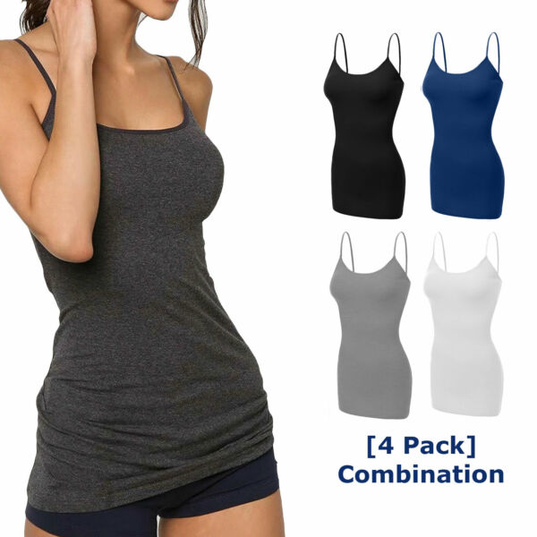 4 pack Women Long Cami Tank Tops COTTON Blend Fit Basic Camisole Top W Straps $19.99