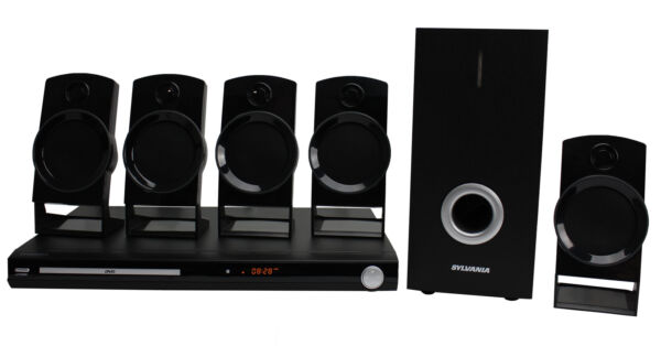 Sylvania 5.1 Channel DVD Home Theater System w Subwoofer & Remote Control Black