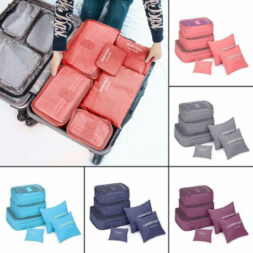 USSTOCK Travel Storage Bag Waterproof Clothes Packing Cube Luggage Organizer Set