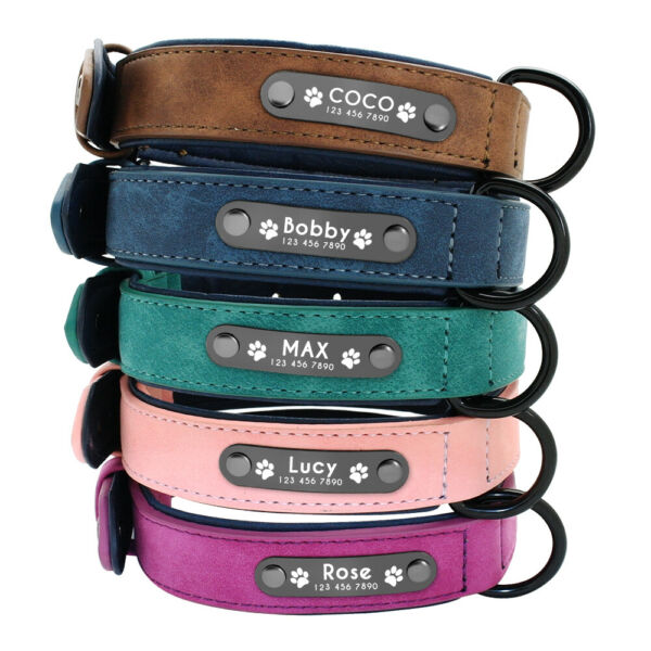Soft Leather Personalized Dog Collar ID Tag Engraved for Small Medium Large Dogs $10.44