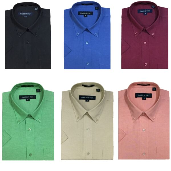 MEN'S 60% COTTON 40% POLYESTER SHOT SLEEVES SHIRTS BUTTON DOWN DESIGN SG02BS