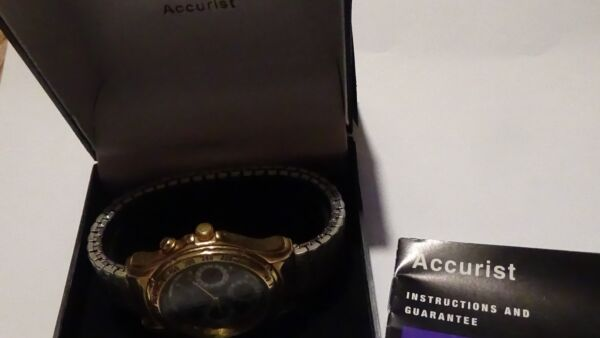 Mens GT Accurist 3 register calendar Indiglo watch w stretch bracet
