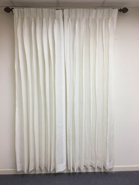 CUSTOM FRENCH PLEATED LINEN PANELS 20quot; W x 80quot;L DOUBLE Fullness UNLINED CREAM