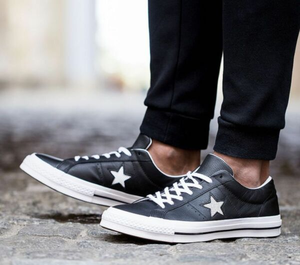 New CONVERSE One Star Leather Sneaker Mens black white sz 9-10.5