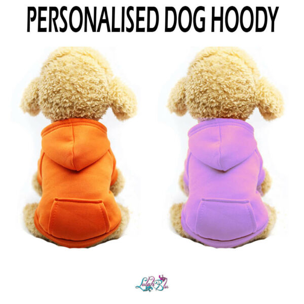Personalised Dog Hoodie Dog Hoody Puppy Dog Clothes GBP 13.49