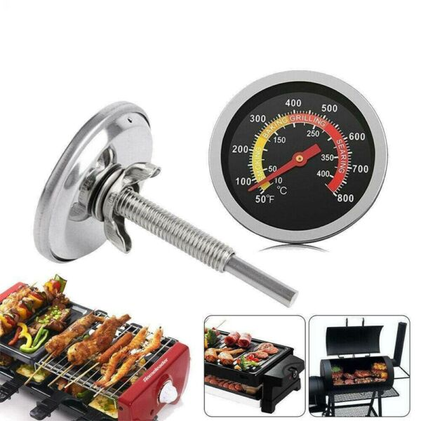 400℃ Barbecue BBQ Smoker Grill Thermometer Temperature Gauge Stainless Steel Sj