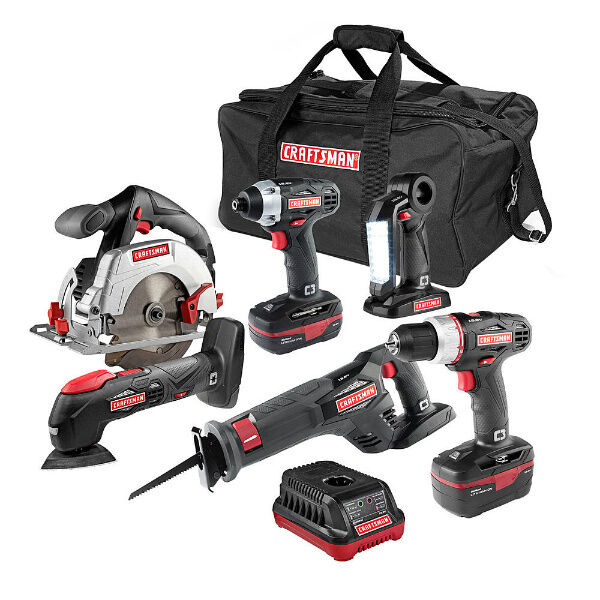 Power Tools Combo Kit 6 Piece Craftsman 19.2-Volt Lithium-Ion Drill Saw Driver