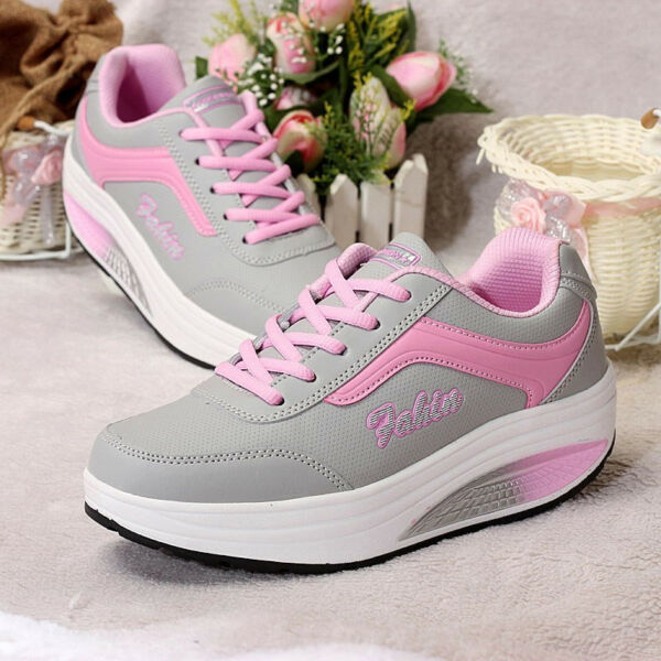 Women's Fashion Athletic Shoes Thick Platform Shake Sneakers Lace Up Spo