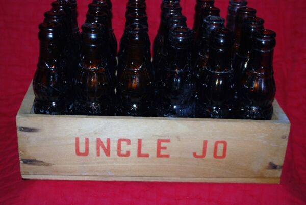 24 Vintage Uncle Jo Brown Glass Bottles Wood Crate Rare1920's Fort Worth TX Disc