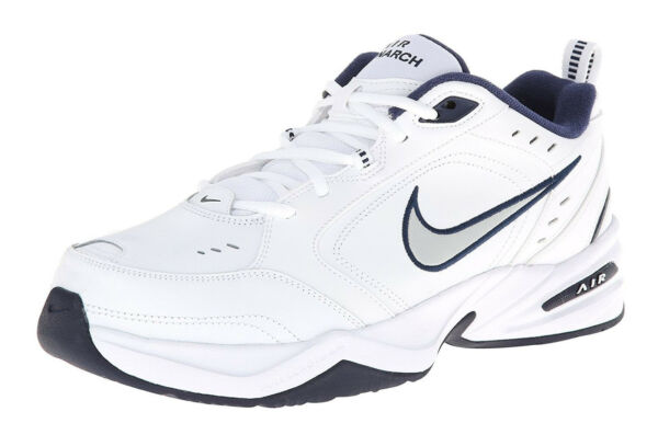 Nike Air Monarch IV White, Silver, Navy Mens Training Sneakers Tennis Shoes