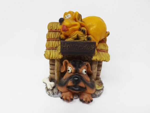 Vintage House Dog Two Dogs amp; Dog House Resin Coin Bank $19.99