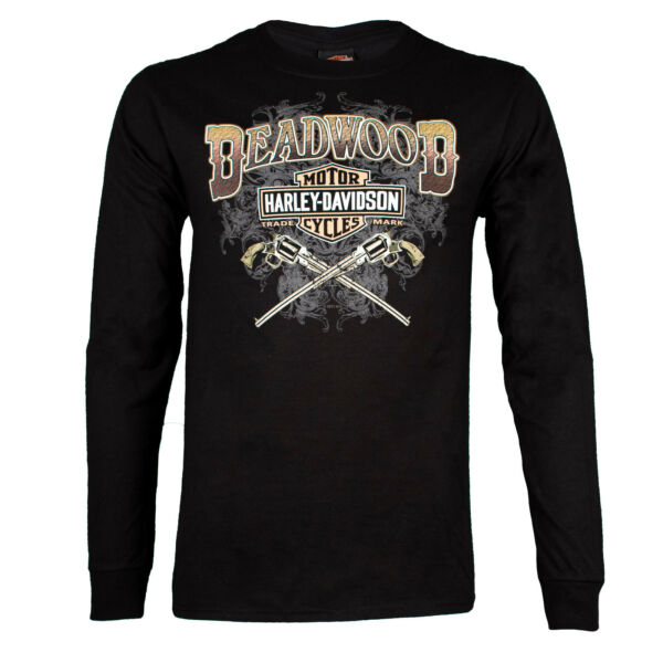 Deadwood Harley Davidson® Men#x27;s Wild Bill Guns Long Sleeve Black T Shirt