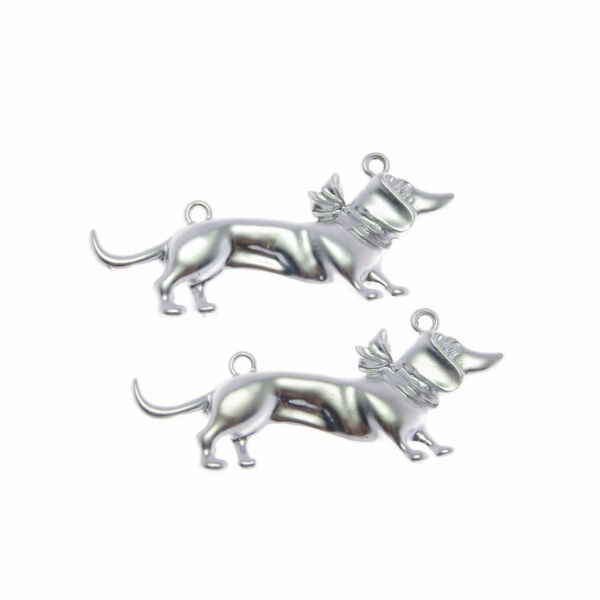 Lot of 4 Silver Metal Alloy Dachshund Dog Look Charm Pendant Findings 51x22 MM $1.89