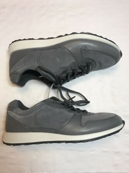 ECCO DANISH DESIGN SOFT  LACE-UP LEATHER SNEAKERS GREY SIZE 37