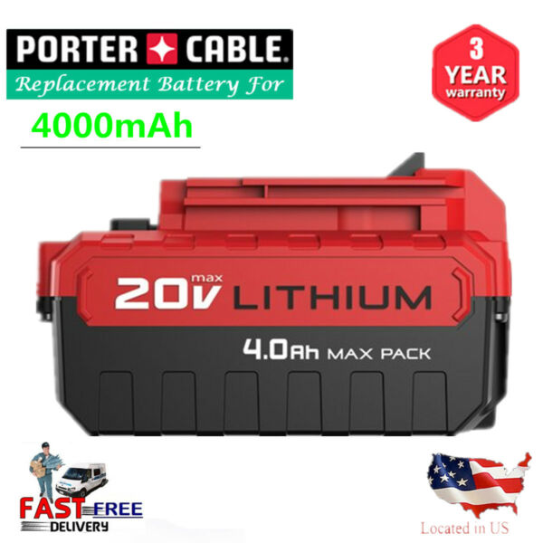 20V MAX 4.0AH Lithium-Ion Battery For Porter Cable PCC685L PCC680L Power Tool US