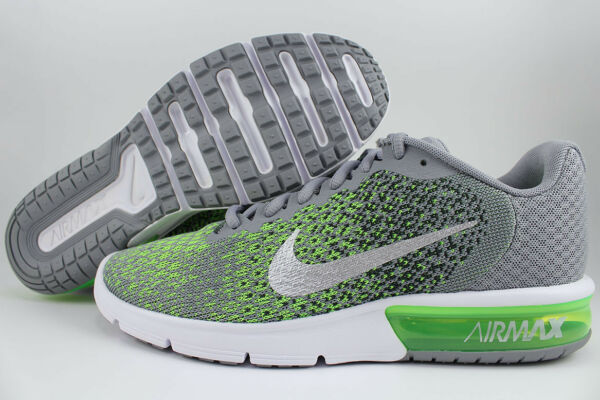 NIKE AIR MAX SEQUENT 2 STEALTH GRAY/SILVER/ELECTRIC GREEN RUNNING 1 90 MEN SIZES