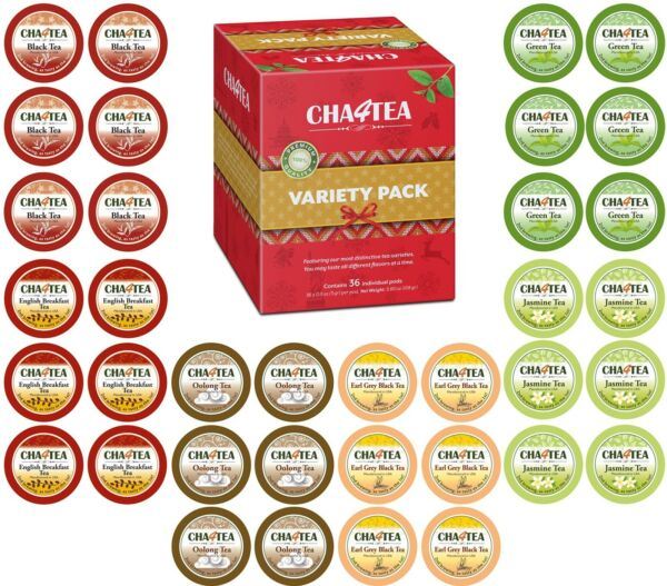36-Count Tea Pack Flavor Sampler Loose Leaf Bags Herbal Variety K Cups Pack New