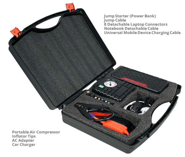 12V Compact 16500 mAh Portable Car Battery Jump Starter Air Compress laptop