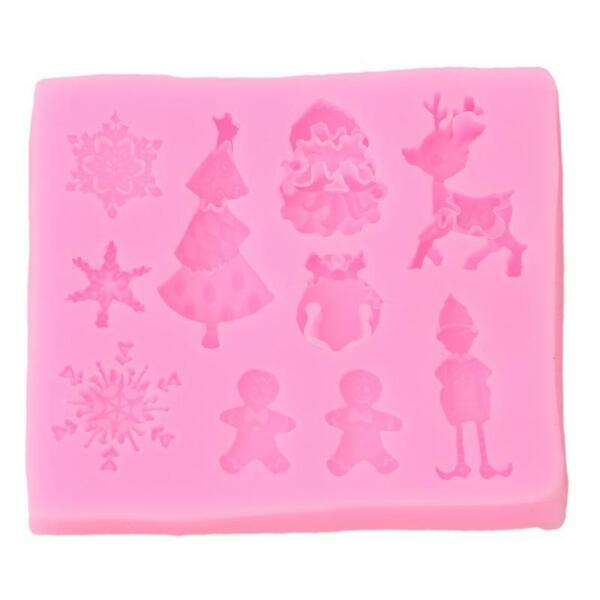 Santa Reindeer Snowman Tree Chocolate Cake Cookie Silicone Mould Baking Mold G