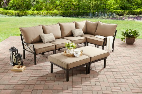 7-Piece Outdoor Sofa Sectional Set Seats 5 includes two cushioned chairs love st