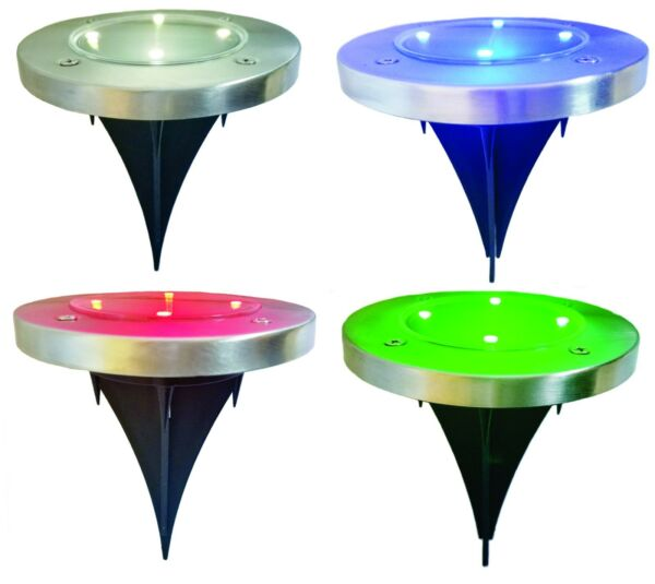 Solar Powered LED Outdoor Disk Lights, White, Blue, Red, Green Colors New
