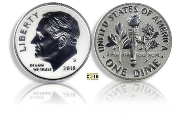 2018 S Silver Reverse Proof Roosevelt Dime Rare only 200K Minted Dime Only