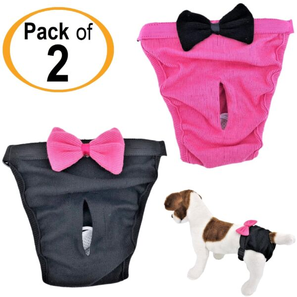 PACK of 2 Dog Diapers Female Cat for SMALL and LARGE Pets 100% Cotton Pink Black $8.99