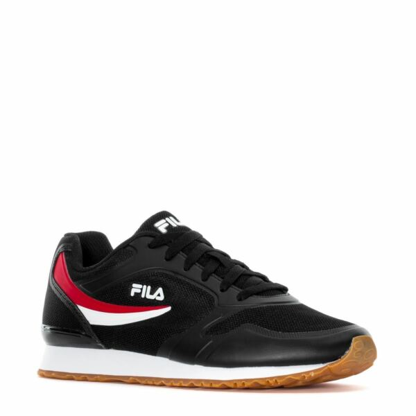 NEW MEN'S FILA FORERUNNER CLASSIC RETRO BLACK WHITE RED LACE UP RUNNING SNEAKERS