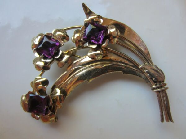 VTG HARRY ISKIN Sterling Signed Vermeil Amethyst or Not Huge Flower Brooch=15g